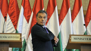Hungarian Prime Minister Viktor Orban gives a press conference on February 2, 2011 at the Parliament building in Budapest.  AFP PHOTO / ATTILA KISBENEDEK