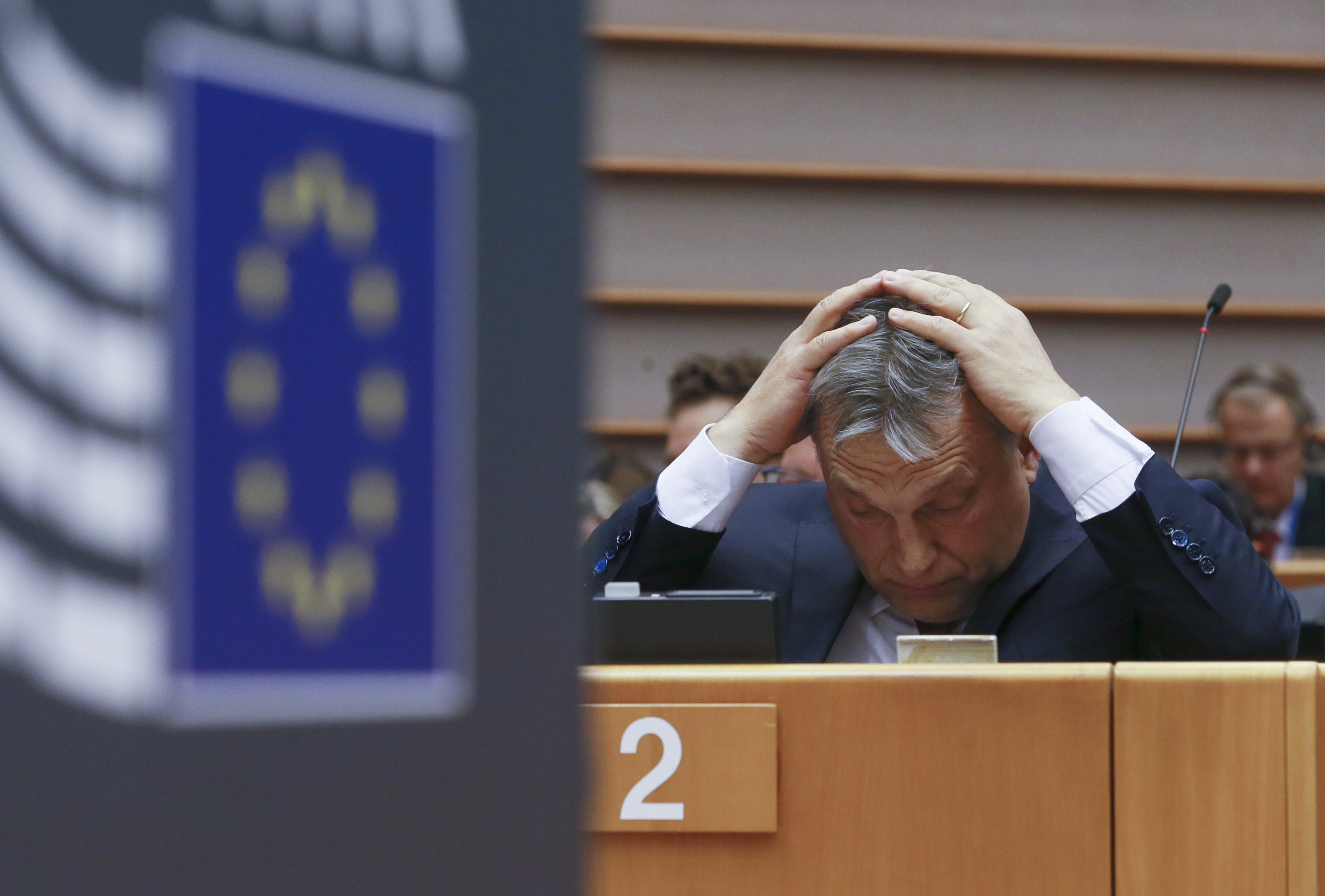 Hungarian Prime Minister Viktor Orban at plenary session of the European parliament