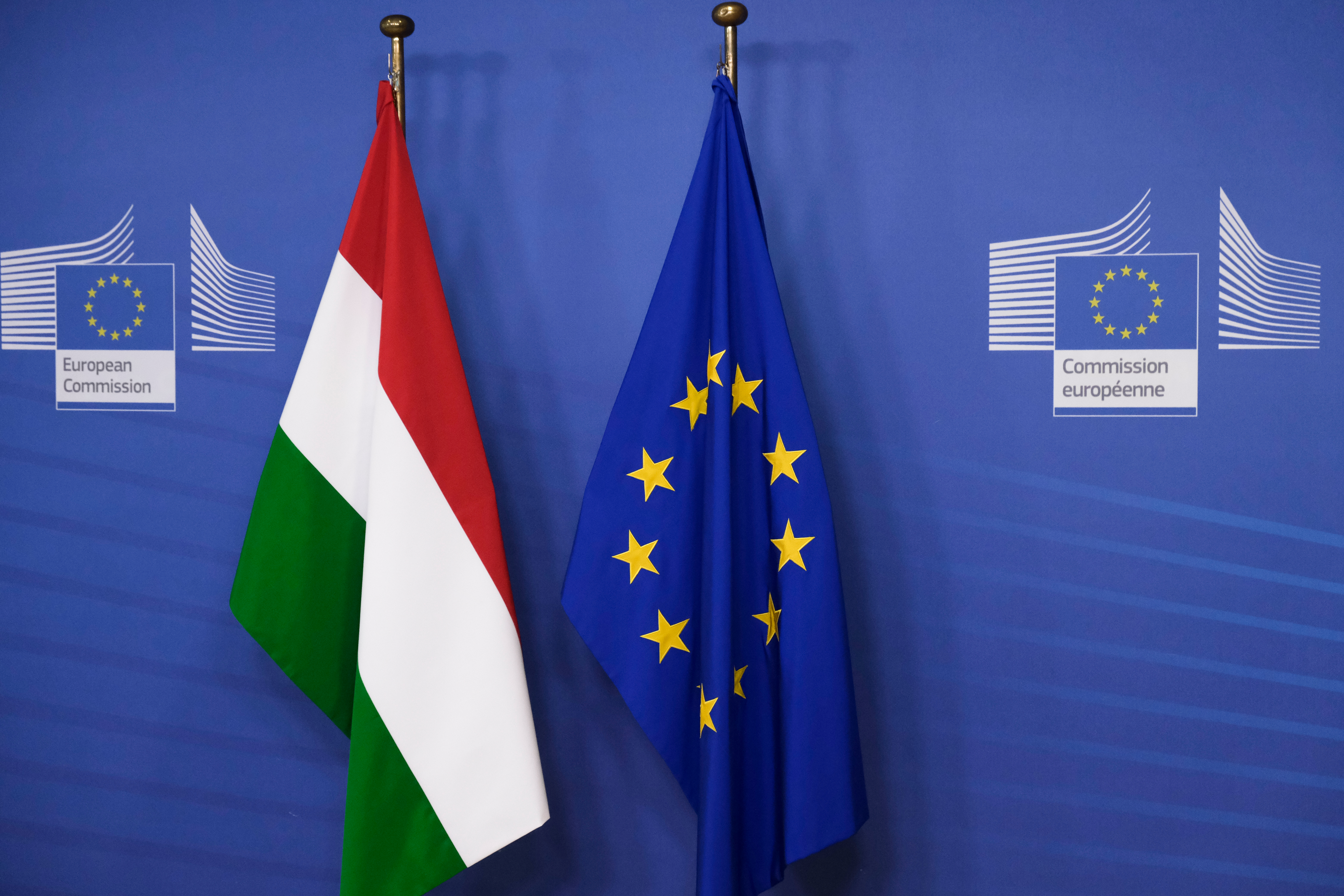 Brussels,,Belgium.,3rd,February,2020.,Flag,Of,Hungary,And,Flag